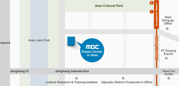 一山MBCドリームセンターへのアクセスマップ